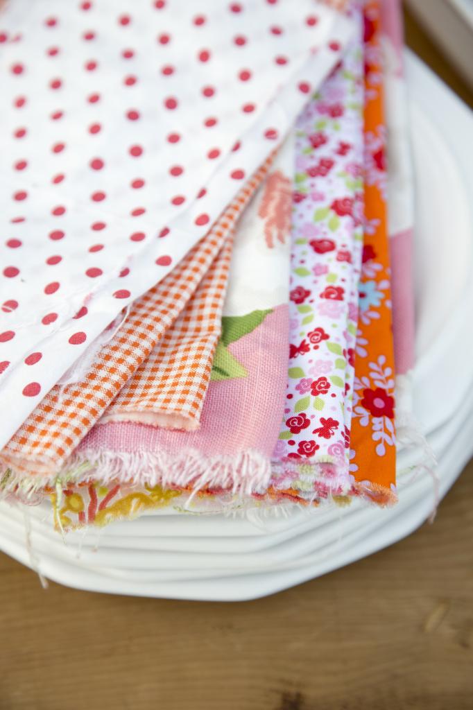 Torn fabric napkins from LibbieSummers.com