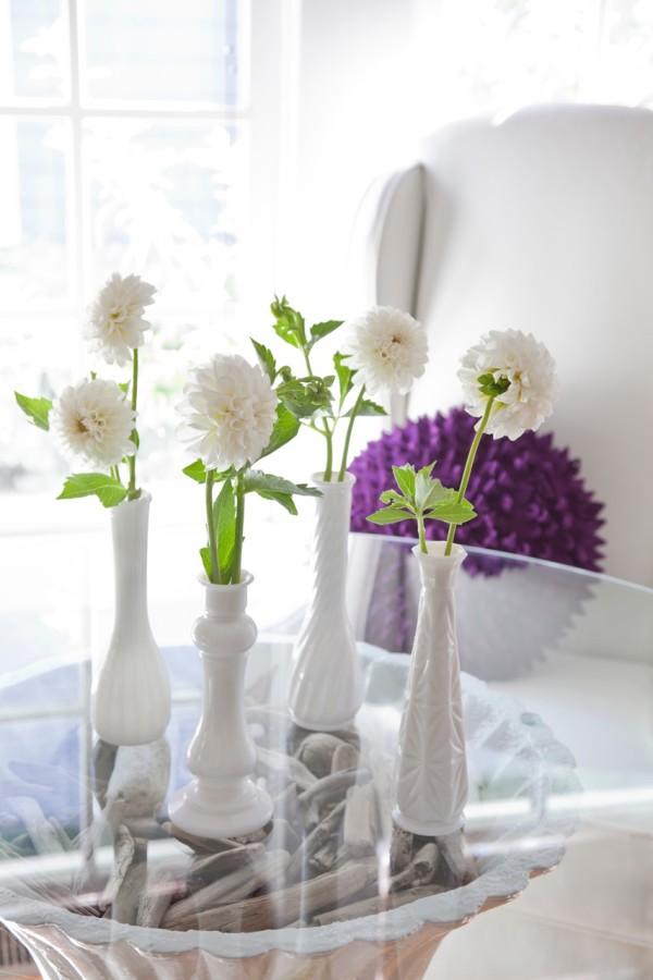 Milk Glass Bud Vase Centerpiece  from Libbie Summers