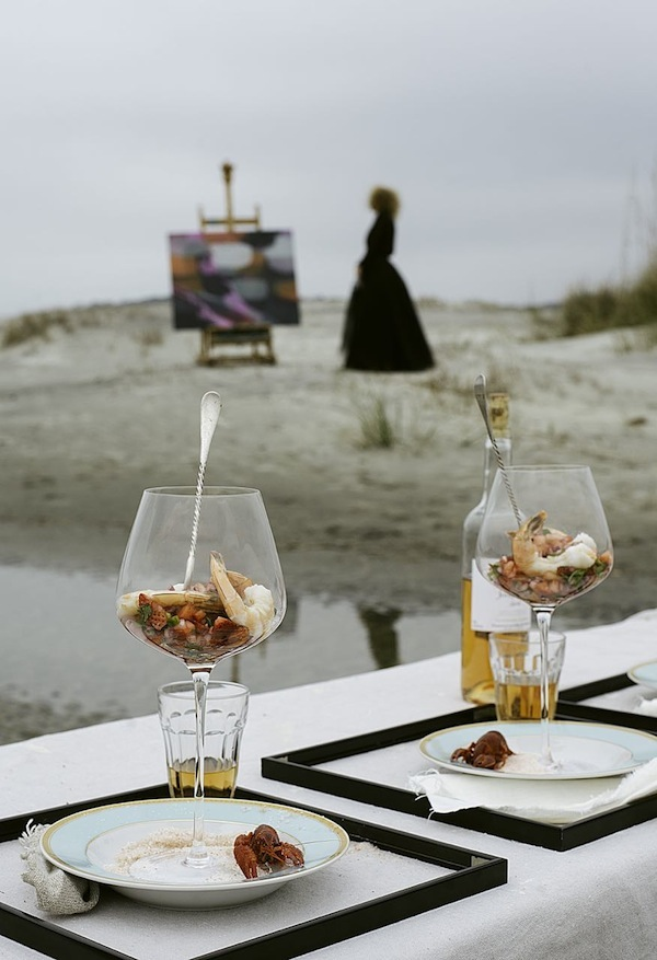 An artful appetizer course at the beach from Libbie Summers  (artwork by katherine sandoz, photography by cedric smith)
