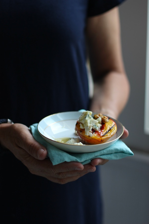 Grilled Peaches with Blue Cheese and Honey from Libbie Summers