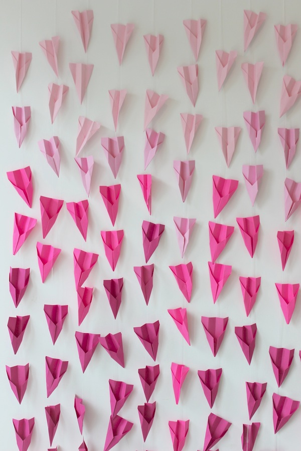 Pink Ombre Paper Airplane Wall from Libbie Summers