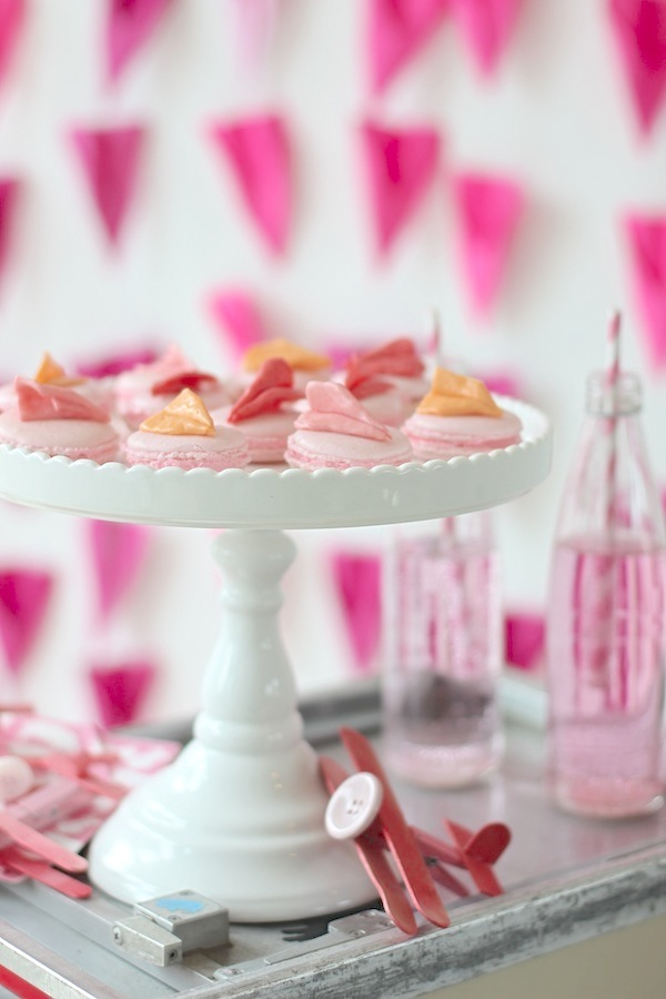Pink Macaroons with Starburst Airplanes on top from Libbie Summers