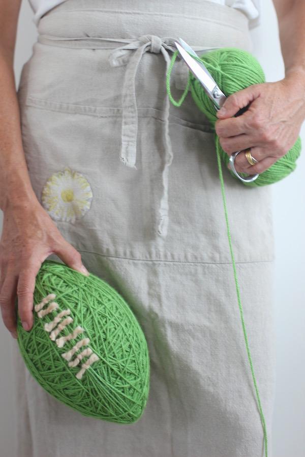 Yarn Football Centerpiece from Libbie Summers