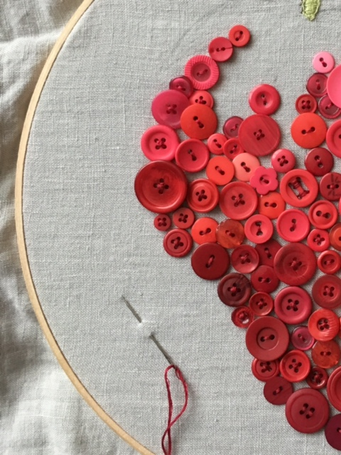 Using buttons to make a strawberry pillow case from Libbie Summers