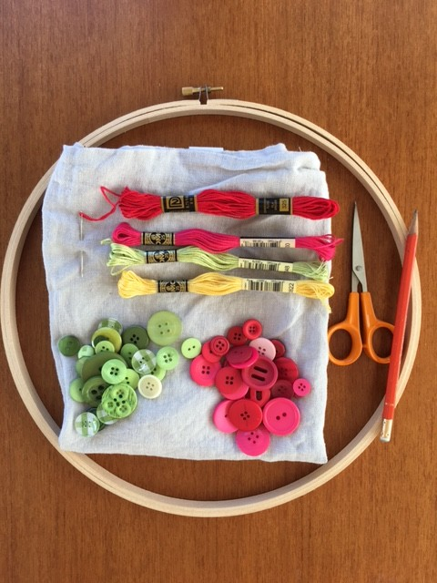 Embroidery supplies for Button Art