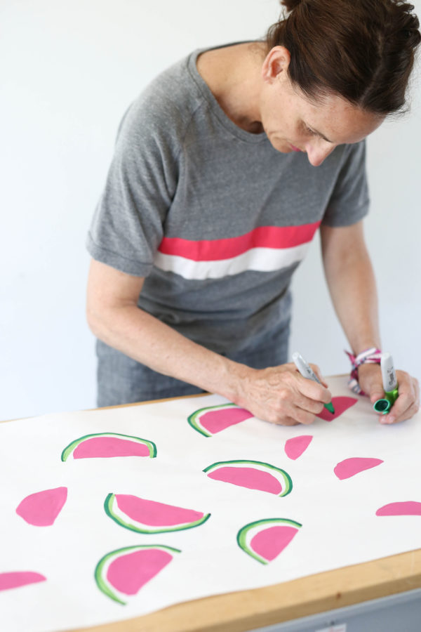 Homemade Wrapping Paper, Watermelon Print, Libbie Summers, DIY, Crafts