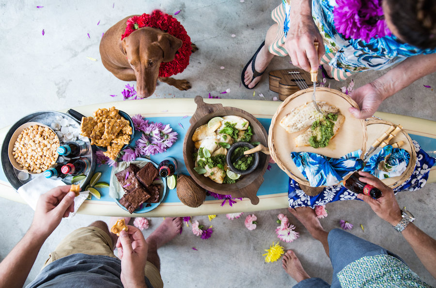 Party Ideas, Party Decorations, Libbie Summers, A food-inspired life, Hawaiian Party, Surf Board Table