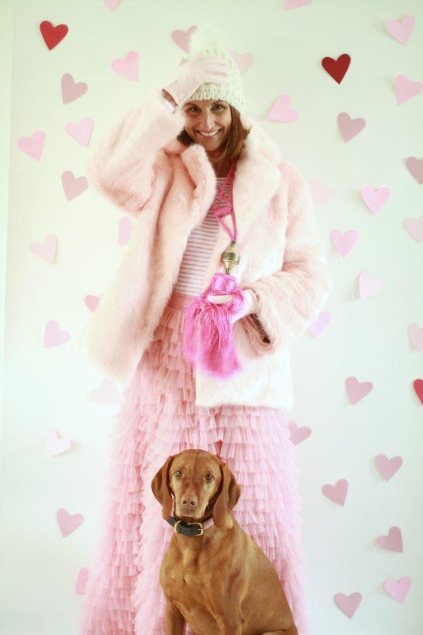 Fashion, Valentine's Day, Pink Faux Fur, Libbie Summers, Libbie Loves, Vizsla, Tassel Clothing, Pink Skirts, Pink Coats