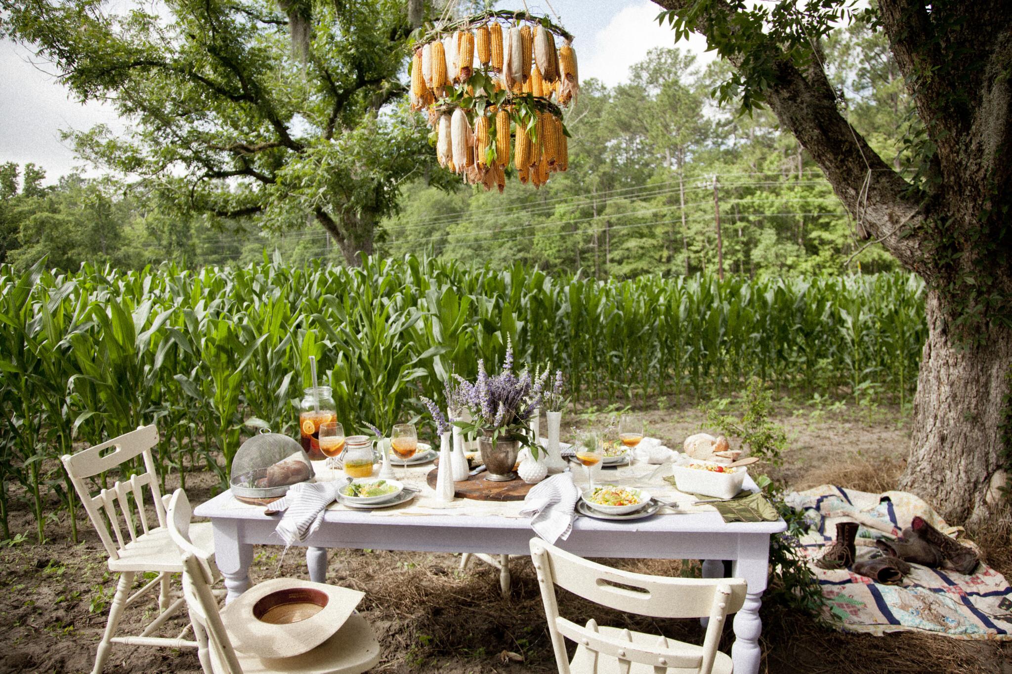 Dining Al Fresco, Lunch in a Cornfield, Libbie Summers Entertains, Corn Chandelier,