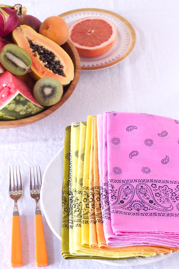 Bandanas, Hand-dying, DIY, Tablescape