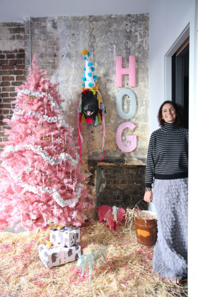 Christmas Trees, Pig-inspired holiday tree, Fun Holiday Trees, Decorating for fun, Libbie Summers, Holiday Crafts, Pigs, Hogs,