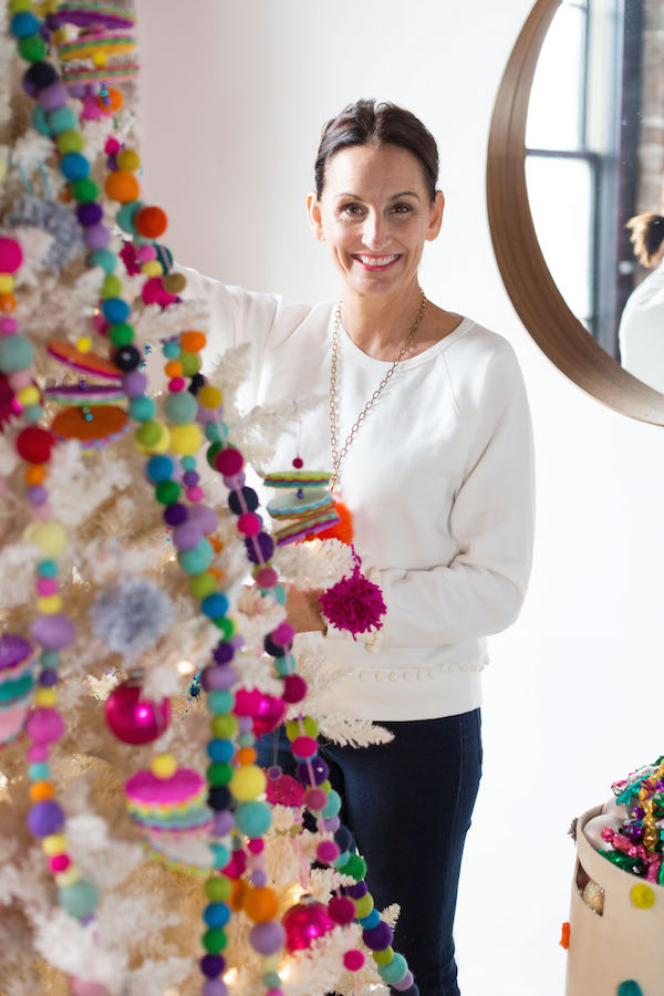 Holiday Tree Decorating, Felt Ball Garland, Libbie Summers, A food-inspired life,