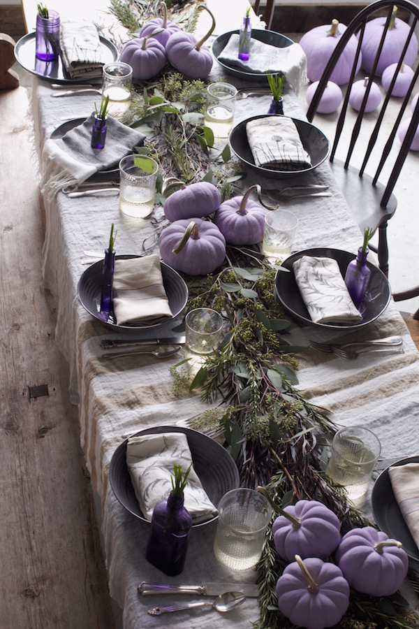 Purple Pumpkins, Libbie Summers, Holiday Table, Chive Blossom Inspiration, Organic, Chic