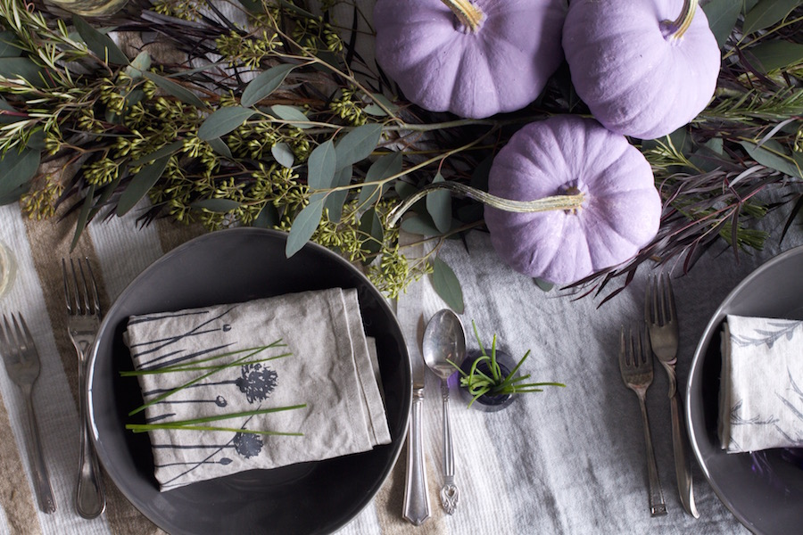 Table Setting, Purple Pumpkins, Fall Color, Libbie Summers, A food-inspired life, Holiday Table