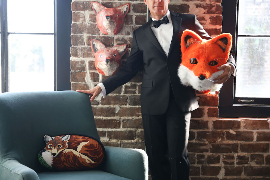 Fox, Fox Head, Fox Costume, Libbie Summers, Joshua Summers, Man in Tux, Fox Needlepoint