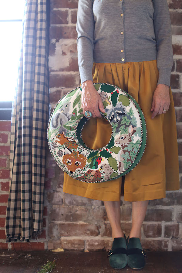 Needlepoint, Wreaths, Holiday Wreaths, Holiday Decorating, Christmas Wreaths, Libbie Summers, A food-inspired life, Sydney Kiefner Needlepointing