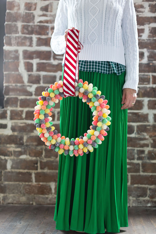 A food-inspired life, Libbie Summers, Gum drops, Wreaths, Holiday Wreaths, Holiday Decorating,