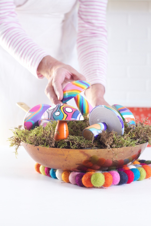 Painted Mushrooms, Mushroom Crafts, Libbie Summers, Centerpieces, Mushrooms, A food-inspired life