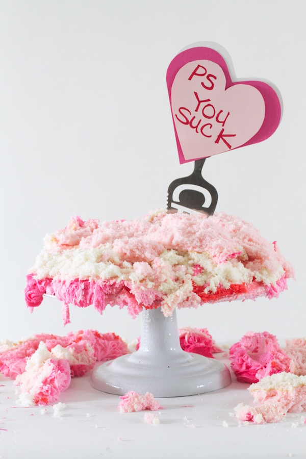 Valentine's Day, Hater's Cake, Libbie Summers, Cake Decorating, Break Up Cake,