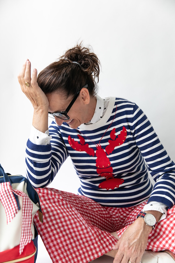 Red White and Blue Clothing, Lobster Sweater, Kate Spade, Vintage Gingham Pants, Daniel Wellington Watch, Food-inspired fashion