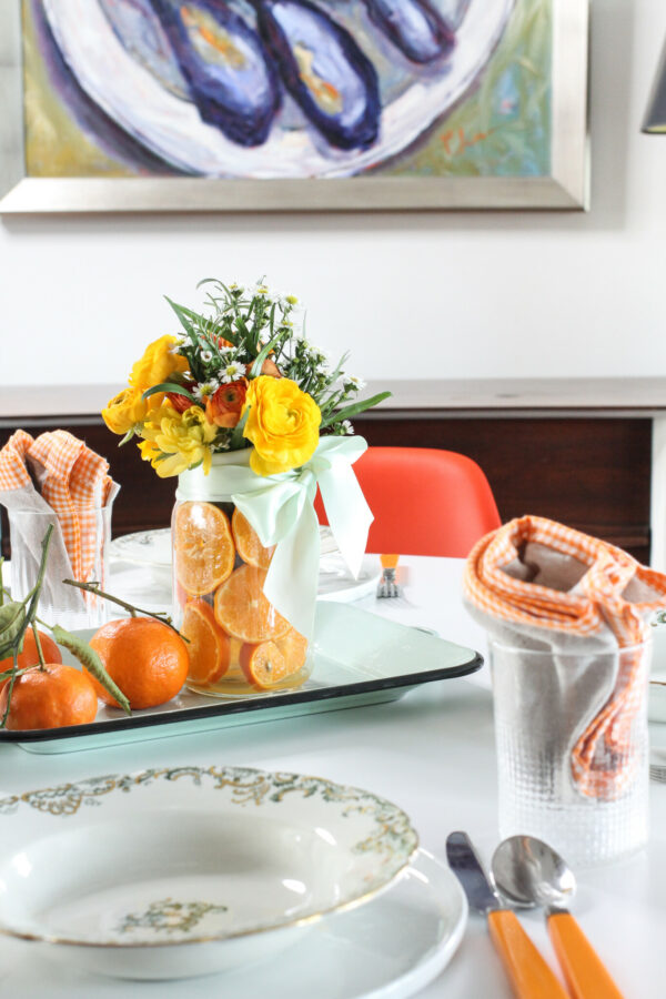 Mason Jar Centerpiece, Libbie Summers Entertains, Orange Centerpiece, Easy Entertaining