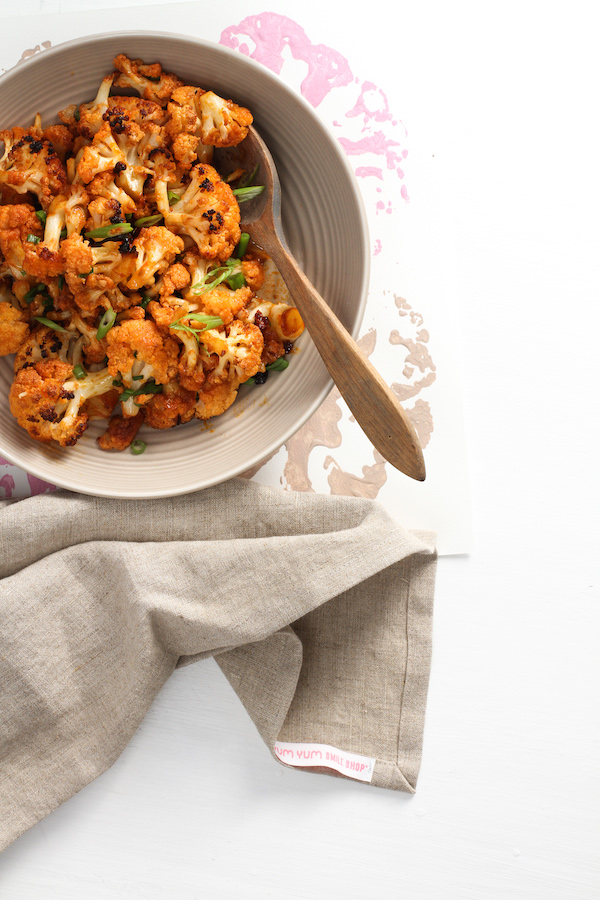 Korean Cauliflower, Libbie Summers Recipes, Side Dish Recipes, Cauliflower Recipes, Winter Recipes, Yum Yum Smile Shop Apron by Libbie Summers, Grey Apron, Quick Side Dishes, Korean Food