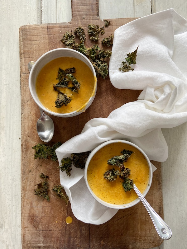 Roasted Soup Recipes, Easy Soup Recipes, Indian Spiced Soup, Carrot Soup, Kale Chips, Libbie Summers Recipes, A food-inspired life, Spring Soup, Indian Soups