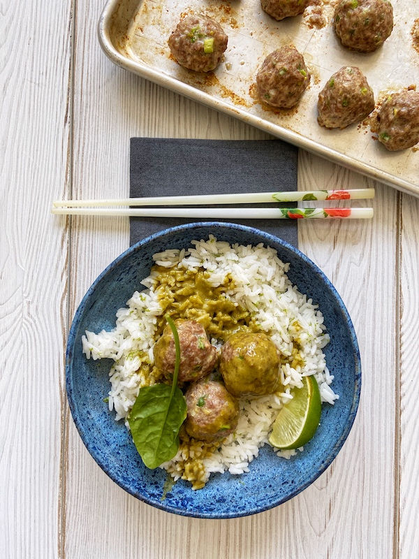 Pork Meatballs, Spinach Curry Sauce, Libbie Summers Recipes, Meatball recipes, Pork Meatballs, Ginger Scallion Meatballs,