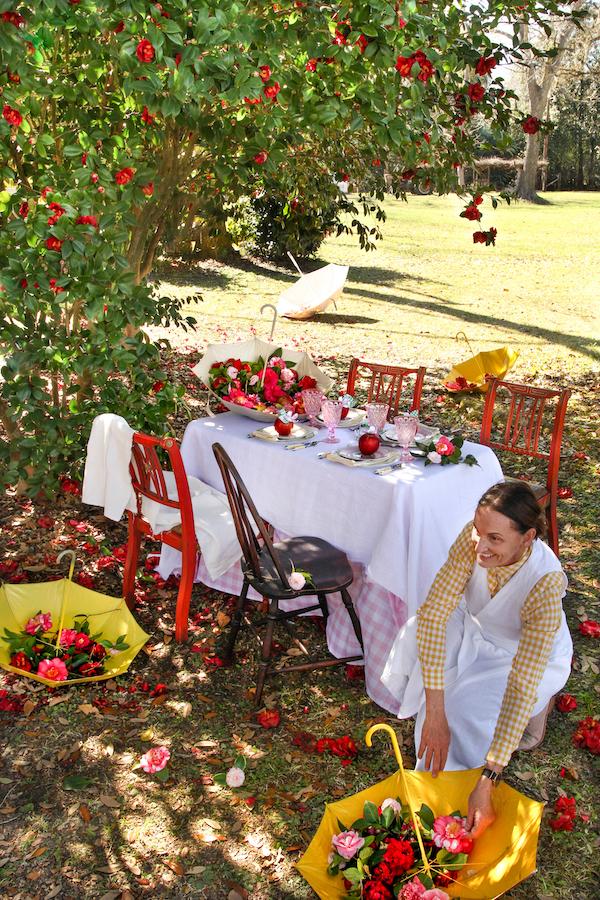 Tablescape, Table Centerpiece, Apple Centerpiece, Libbie Summers Entertains, Visual Feast, Children's Umbrella, Apple Crafts, Outdoor Dining, Dining Al Fresco, Spring Tablescape,