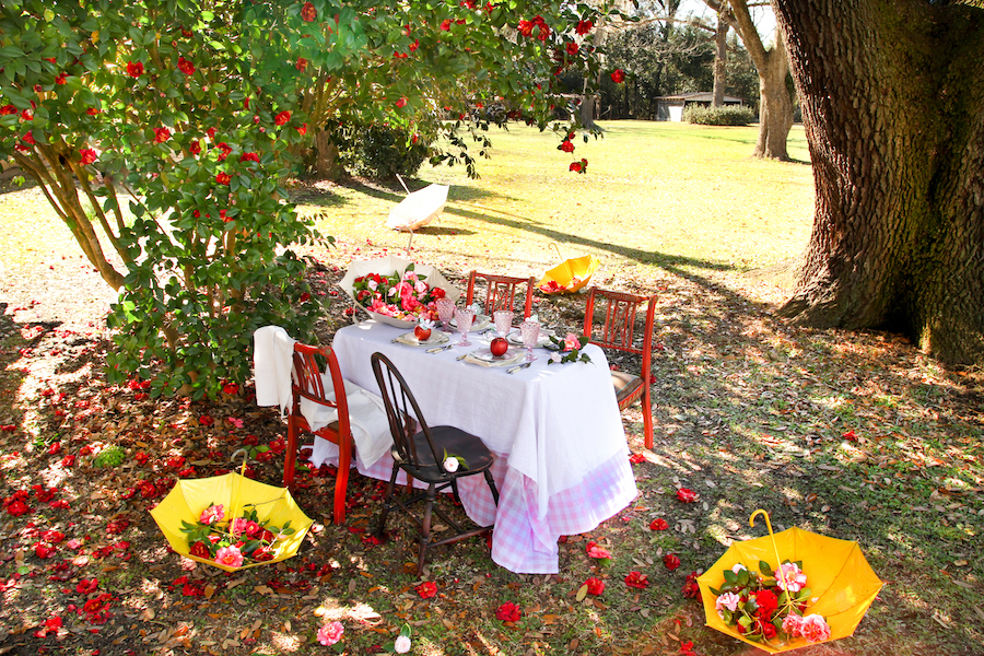 Tablescapes, Spring Tables, Dining Al Fresco, Libbie Summers Entertains, Libbie Summers Label, Cosmic Crisp Apples, Table Ideas, Outdoor dining Ideas, Umbrellas for decorations, Camellias, Savannah,