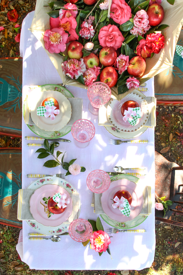 Tablescapes, Spring Tables, Dining Al Fresco, Libbie Summers Entertains, Libbie Summers Label, Cosmic Crisp Apples, Table Ideas, Outdoor dining Ideas, Umbrellas for decorations, Camellias, Savannah, Mix and Match China, Pink Glasses, Al Fresco Dining,