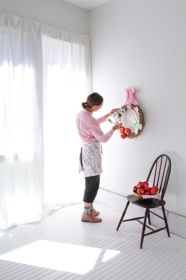 Spring Wreath, Paper Flower Wreath, Libbie Summers Crafts, Paper Crafts, Cosmic Crisp Apples, Apple Blossom Flowers, Floral Apron, Libbie Summers Apron, Cafe Apron in floral line from Libbie Summers,