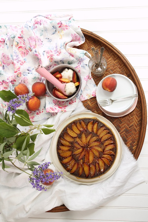 Peach Upside-Down Skillet Corn Cake by Libbie Summers